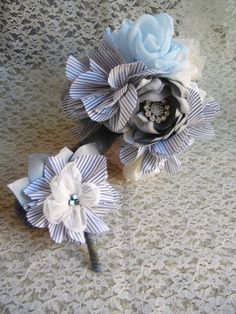 Striped Boutonniere Shabby Chic Boutonniere by SewManyPetals