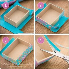 Turkosa askar med snygga hörn – Turquoise boxes with pretty cornersTurquoise boxes - by Craft & Creativity Tutorial on how to get pretty corners when covering boxes with paper.How to get pretty corners when covering boxes- I always have bad corner Fun Crafts, Diy And Crafts, Arts And Crafts, Paper Crafts, Cardboard Crafts, Cardboard Boxes, Recycled Crafts, Diy Paper, Fabric Crafts