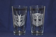 Etched Transformer Pint Glasses  Autobot and by Jackglass on Etsy, $26.00