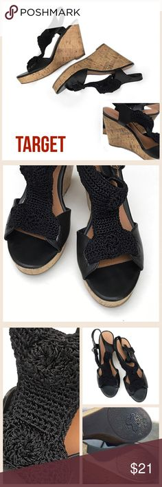 """〰Sz 8.5 TARGET Xhiliration Blk Macrame Cork Wedges ➖TARGET➖EXHILIRATION➖Size 8.5 Black Macrame with Cork Wedges-Worn only a few times...HEEL HEIGHT: Approx: 4 1/4""""  ✅Please see pictures for more info...✅Due to privacy, I do not send a comment after your purchase ✅If you need confirmation of purchase, please comment under your listing and I will reply...  🛍THANKS, Deb Xhilaration Shoes Wedges"""