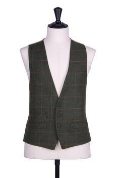 Grooms green tweed 3 button wedding waistcoat