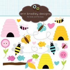 Birds Bees Clipart Clip Art for Personal & Commercial Use Butterflies Beehives and Flowers via Etsy