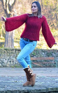 Designer Hand Knitted Mohair Sweater Red crew neck Spring Pullover EXTRAVAGANTZA #Extravagantza #Crewneck