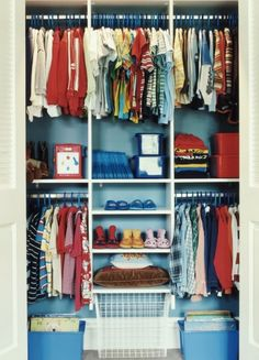 I wish I had the time/resources to have the boys closet look like this! Wardrobe Organisation, Closet Organization, Organisation Ideas, Kids Storage, Closet Storage, Closet Shelves, Closet Doors, Storage Ideas, Big Girl Rooms