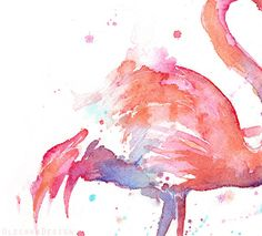 Flamingo Love Watercolor Painting Art Print by OlechkaDesign
