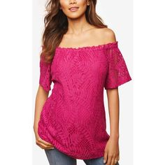 Motherhood Maternity Off-The-Shoulder Top (€30) ❤ liked on Polyvore featuring tops, festival fuchsia, off the shoulder tops, pink top, fuschia top, motherhood maternity and pink off shoulder top