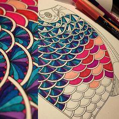 Hereee fishy, fishy!  #lostocean #koibrushpen #stabilo #staedtler #adultcoloring #fishy #fishscales #inkyquest
