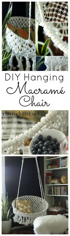 DIY Hanging Macrame Chair... This looks pretty difficult and expensive to do but maybe some day. Might be worth just buying a chair. #ChairDIY