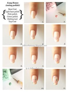 Rose nail art tutorial with polish or acrylic paint.you must tryit Rose Nail Design, Rose Nail Art, Nail Design Video, Floral Nail Art, Simple Acrylic Nails, Acrylic Nail Art, Fancy Nails, Diy Nails, Pretty Nail Designs