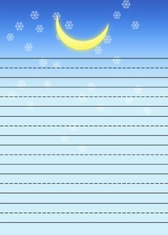 stars and moon Free printable kids stationery, free primary lined writing paper