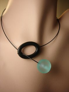 Q blue resin Necklace