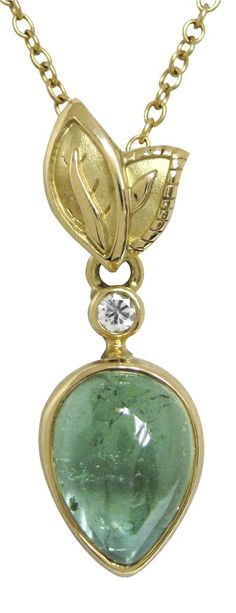 pendant with round sage sapphire and a cabochon pear shape green tourmaline by Conni Mainne Color Of The Year 2017, Jewlery, Jewelry Necklaces, Green Tourmaline, Floral Crown, Pear Shaped, Wedding Colors, Sage, Greenery