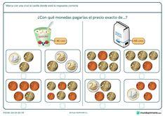 Ficha de decidir el precio exacto del azúcar para primaria Money Activities, Maila, Learning Apps, Primary Maths, Math For Kids, Teaching Math, Teaching Ideas, Math Centers, Euro