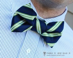 Repurposing: Turn any Neck Tie into Bow Tie. Did you know you could take a regular neck tie and with a little ingenuity, sewing and velcro, turn it into a fabulous bow tie? Make A Bow Tie, How To Make Bows, Bow Tie Tutorial, Formal Tie, Chevron, Old Ties, Best Shave, Boys Bow Ties, Extra Fabric