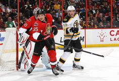Boston Bruins at Ottawa Senators Game W 2-1- 03/21/2013 Sergei Gonchar #55 of Ottawa defends against Tyler Seguin #19 of Boston in front of Robin Lehner #40 of Ottawa at Scotiabank Place.  (Photo by Jana Chytilova/Freestyle Photography/Getty Images)