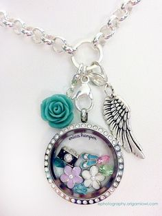 Colorful Origami Owl Locket with Dangles -  Large Silver Locket with Crystals