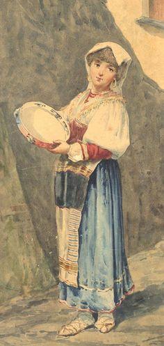 19th Century Watercolour - Tambourine Player Frame Drum, Tambourine, Drummers, Watercolours, Italy Travel, 19th Century, Painting, Fashion, Gypsy Girls
