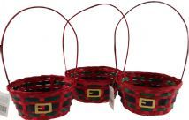Set Of 3 Red Christmas Wicker Baskets - Fill With Craft Gifts Or Make Hampers