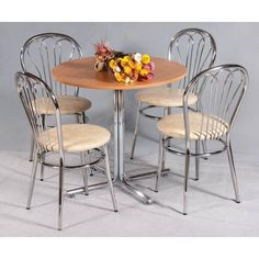 Masa rotunda Karina #masa de #bucatarie cu picior central si blat rotund din pal melaminat.  Pret - 450 lei tva inclus. Dining Chairs, Dining Table, Outdoor Furniture Sets, Outdoor Decor, Home Decor, Homemade Home Decor, Dinning Table Set, Dining Chair, Interior Design