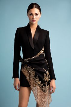 Black wool crêpe tuxedo dress, featuring a double satin drape embellished with metallic thread-work and edged with gold crystal fringing. Look Fashion, Fashion Show, Womens Fashion, Fashion Design, Fashion Trends, Tuxedo Dress, Gold Tuxedo Jacket, Maroon Tuxedo, Purple Tuxedo