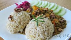 Ethique: Obědové inspirace vol. 7 - Čočka s dýní a rýží Meat Recipes, Meat Meals, Sushi, Grains, Cooking, Kitchen, Seeds, Korn, Sushi Rolls