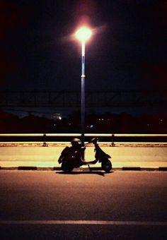 Black in night. #vespa #vespacorsa