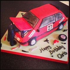 Rally Car and Mechanic Cake