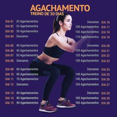 Agachamento - Treino de 30 Dias - Real Time - Diet, Exercise, Fitness, Finance You for Healthy articles ideas Body Fitness, Physical Fitness, Fitness Diet, Fitness Motivation, Health Fitness, Squats Fitness, Enjoy Fitness, Dieta Fitness, Fitness Memes