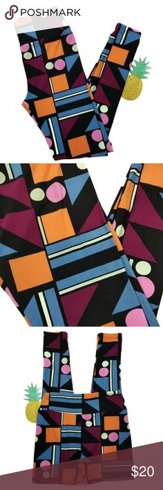 Lularoe OS leggings These leggings have a pattern of circles, squares, triangles, and rectangles. The colors include black, orange, pink, purple, blue, and sea foam green. 92% polyester, 8% spandex. One size fits sizes 2-10 LuLaRoe Pants Leggings