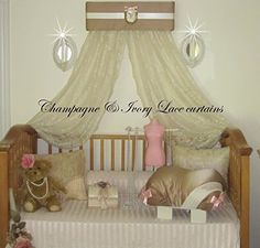 [Canony Bed DIY Ideas] Champagne Ivory Gold NURSERY Bed Canopy WHITE curtains FREE bedroom nursery room decor SALE So Zoey Boutique -- Find out more at the image link.