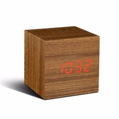 Time can be smart, clever, ultra-stylish, functional and simple with this cube teak wooden alarm clock. This cube TEAK alarm clock can tell you the time, date and temperature alternately in red LED colour on a teak wood-effect block at the click of your fingers and automatically switches off when the room is quiet, lighting up again when the alarm goes off or as a response to clicked fingers or clapped hands. The numbers seem to float on the lovely wooden block, but that's just half the…