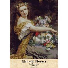 Gobelin Tapestry Set - Girl with Flowers