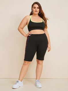Fantastic Plus Size Intimates $10.00 Plus Size Intimates Good Plus Contrast Binding Racerback Bralette $10.00 Plus Size Sports Bras, Plus Size Intimates, Plus Size Leggings, Cycling Shorts, Vintage Style Outfits, Autumn Summer, Stripe Print, Contrast, Sporty