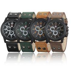 Military Men's Trendy Waterproof Leather Quartz Wrist / Ion Silicone Watch
