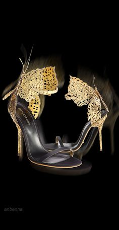 The Gown Boutique: Black and gold.  Sergio Rossi - Filigree Butterfly