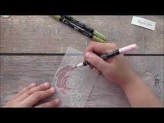 Stampin Up! Rose Wonder Vellum Thank You Card - YouTube