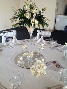 Superb Centre PiecesWedding Table · Floral Arrangement Set In A Martini Glass On  Mirror Tile Base With Scatter Crystals And Petals