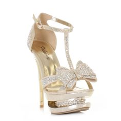 WOMENS GOLD SATIN DIAMANTE PLATFORM BOW PROM SHOES STILETTO HIGH HEELS SIZE 3-8 | eBay