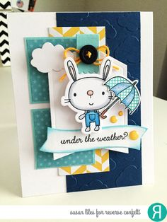 Card by Susan Liles. Reverse Confetti stamp sets: Hippity Hoppity and Weather It Together Confetti Cuts: Hippity Hoppity, Weather It Together, Sun 'n Clouds, Flowers for Mom, Hang Ups and Tag Me. Get well card. Encouragement Card. Friendship card.