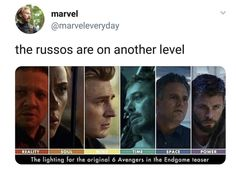 Clint's reality is flipped upside down, Nat's soul is being crushed, Steve's strong mind is breaking down, Tony's running out of time, Bruce may be trying Funny Marvel Memes, Marvel Jokes, Dc Memes, Avengers Memes, Marvel Avengers, Marvel Comics, Bd Comics, Marvel Heroes, Marvel Universe