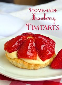 Wedding dessert idea but raspberry Strawberry Custard Tarts. -Now there's the perfect dessert for Canada Day! Can't get more Canadian than a nostalgic TimTart. Rock Recipes, Tart Recipes, Dessert Recipes, Cooking Recipes, Dessert Tarts, Just Desserts, Delicious Desserts, Strawberry Recipes, Strawberry Tarts