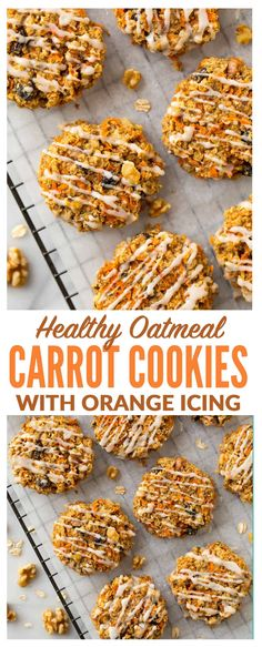 Healthy Carrot Cookies with Orange Icing. These soft and chewy cookies are FLOURLESS, vegan, gluten free, and naturally sweetened! Super easy recipe with oatmeal, cinnamon, and any of your other favorite carrot cake mix-ins. Simple, kid friendly and good enough to eat for breakfast! #carrotcookies #healthy #vegan #glutenfree via @wellplated
