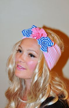 Headwrap Nautical Pink Headband Stripe COTTON Flower Hair Scarf Turban Pink Beach White Stretch Jersey Stripes Head Covering. $18.99, via Etsy.