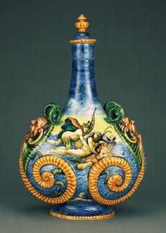 Pilgrim Flask with Marine Scenes (Fiasca da Pellegrino); Workshop of Orazio Fontana (Italian, 1510 - 1571); Urbino, Italy; about 1560 - 1570; Tin-glazed earthenware.