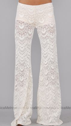 Nightcap Ivory Lace Pants for lounging.looks sooo comfy! Ethno Style, Hippie Style, Looks Style, Style Me, Look Formal, Look Fashion, Womens Fashion, Fashion Trends, Boutique Fashion