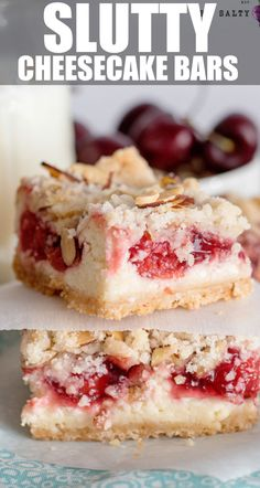 Slutty Cheesecake Bars with Cherries and Cookie Streusel Crumble Topping - so good they get around!  #cheesecake #holiday #dessert #bars