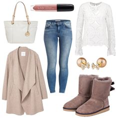 OneOutfitPerDay 2017-02-08 Frühlingsoutfit - #ootd #outfit #fashion #oneoutfitperday #fashionblogger #fashionbloggerde #frauenoutfit #herbstoutfit - Frauen Outfit Frühlings Outfit Outfit des Tages Bluse Boots Handtasche L.O.V Lipgloss Mango Mantel MICHAEL Michael Kors Ohrring Ohrringe Scotch & Soda Skinny Jeans TOSH Ugg Australia Vila Wollmantel