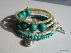 Beautiful jewelry by NorthShore Days!  {Green Turquoise Beach Inspired Bracelet}