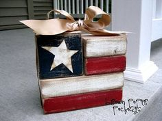 Red white and blue flag blocks for a table decoration or crafty house decor. cute and easy 2x4 Crafts, Wood Block Crafts, Diy Wood Projects, Crafts To Make, Woodworking Projects, Wood Blocks, Woodworking Shop, Primitive Crafts, Woodworking Bench