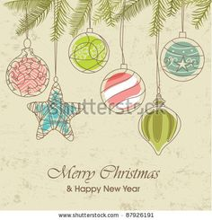 Vintage christmas ornaments by Catherinecml, via ShutterStock